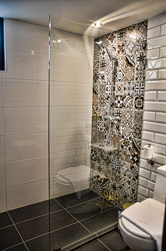 Bathroom with incredibly beautiful tiles