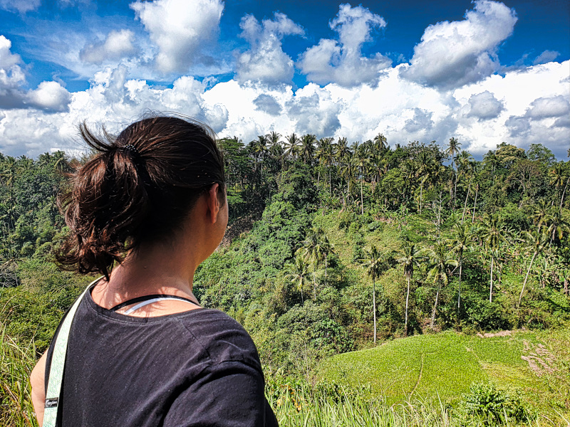 Enjoying the view at the Campuhan Ridge Walk, Ubud  Den Ausblick am Campuhan Ridge Walk genießen
