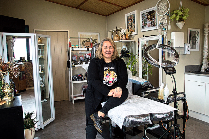 Lorna the Tattooist in her studio