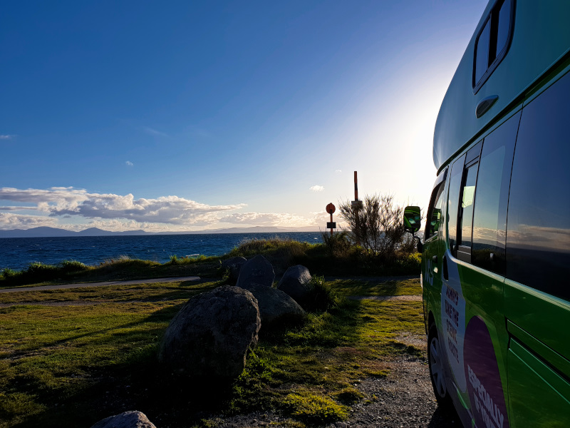 Our Campground at Lake Taupo on our Route from Auckland to Wellington