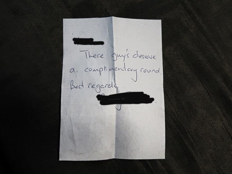 Note from Waverley Golf Club