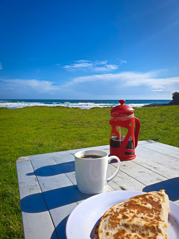 Breakfast burrito with a view