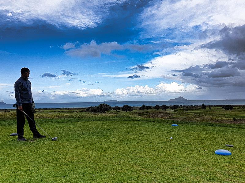 First tee shot in NZ at Waipu Golf Club