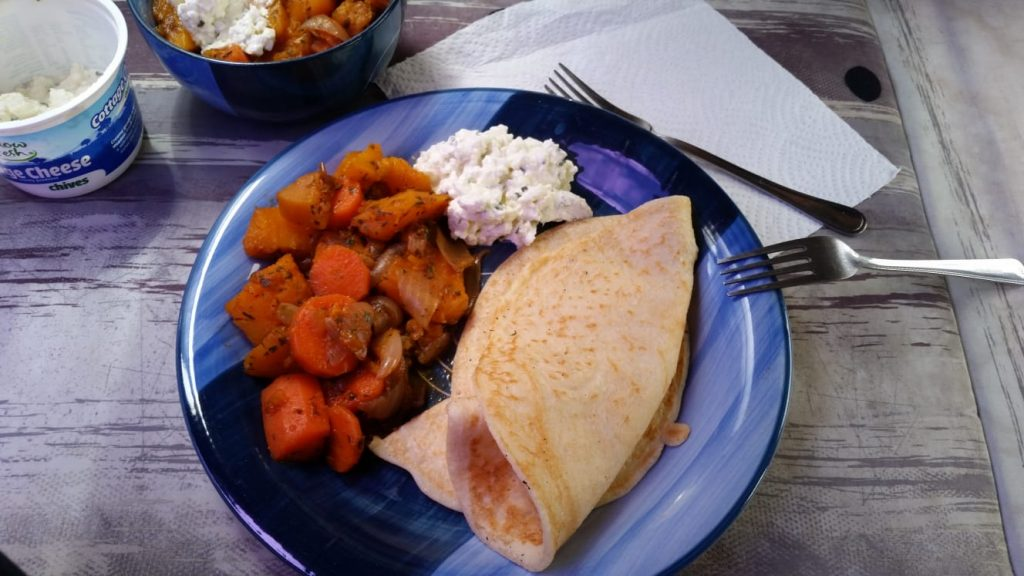 Pancakes with pumpkin-carrot vegetable