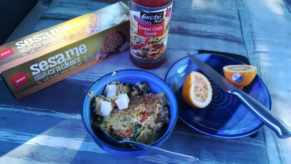 Fried Rice with carrot-spinach vegetable and Feta