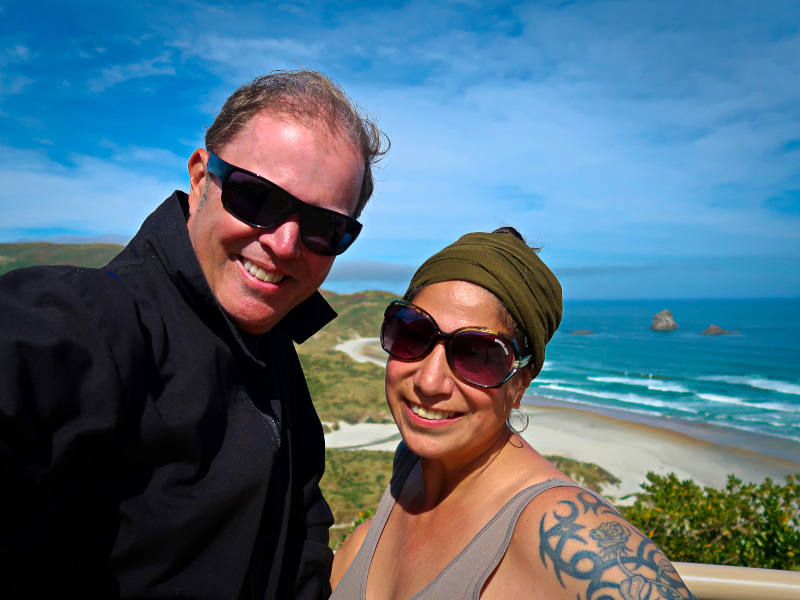 Us at Sandfly Bay