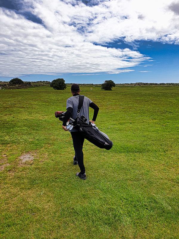 Enjoying the walk at Karamea Golf Club