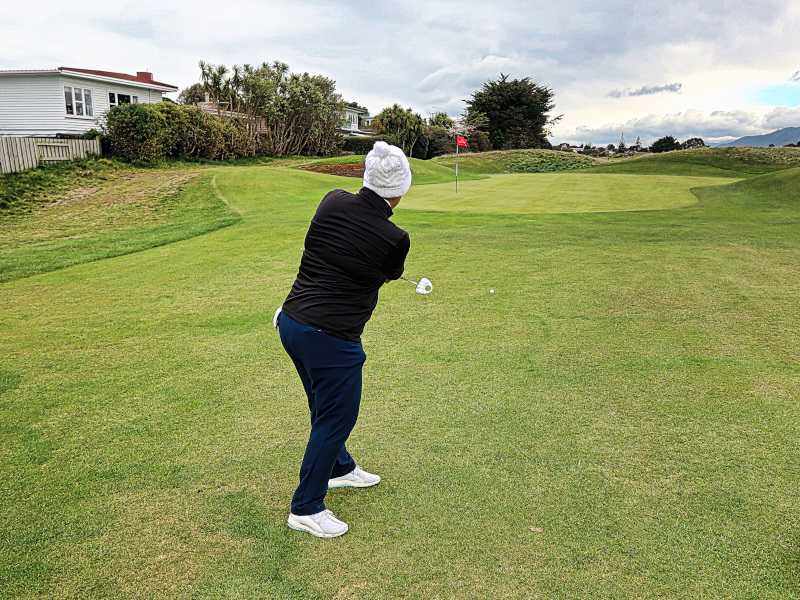 Putting from off the green at Paraparaumu Beach Golf Club