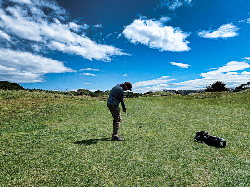 Hitting down on The Downs at Chisholm Links Golf Club