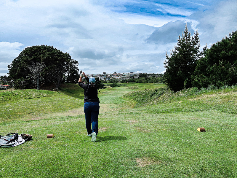 Teeing off on Khyber Pass at Chisholm Links Golf Club