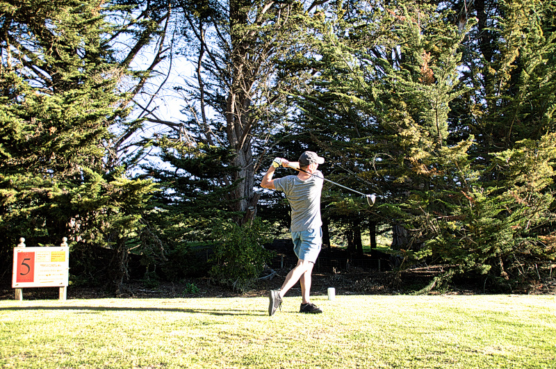 Teeing off on Rutherfords at Otakou Golf Club