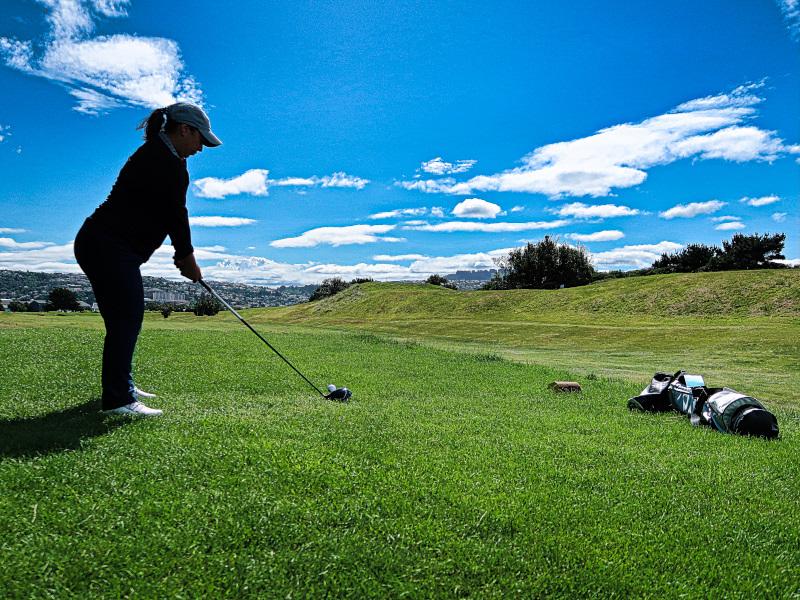 Teeing off on St Kilda at Chisholm Links Golf Club