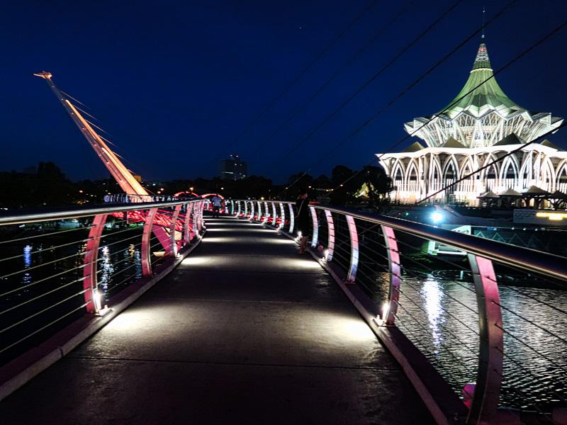 Crossing the Darul Hana Bridge at Night