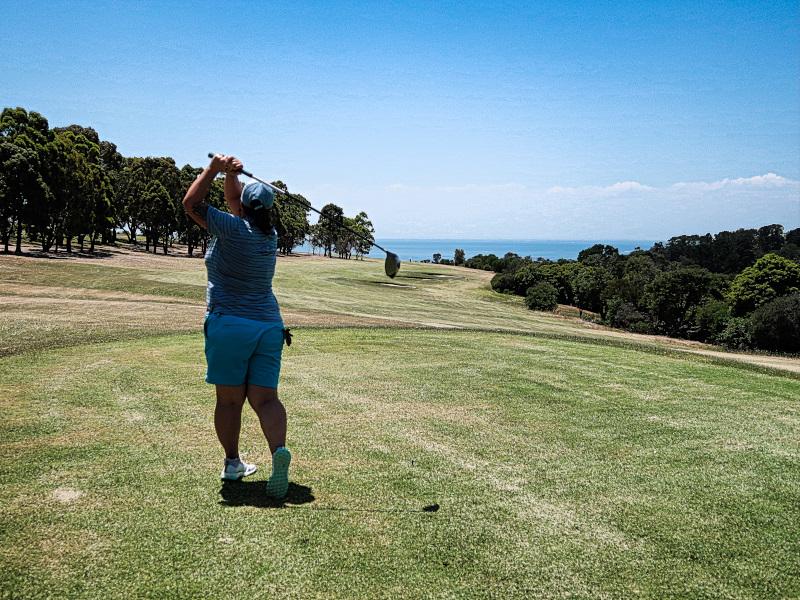 Teeing off on Fourteen at Mornington Golf Club