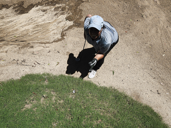 Tough lie on eight at Gympie Golf Course