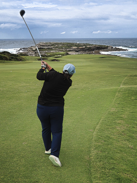Firing one down the fairway on five at The New South Wales Golf Club