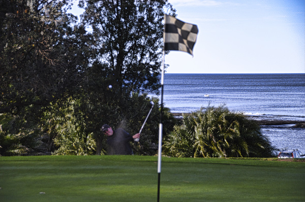 Bunkered on seven at Mollymook Golf Club