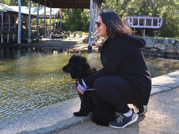 Ella watching ducks in the pond