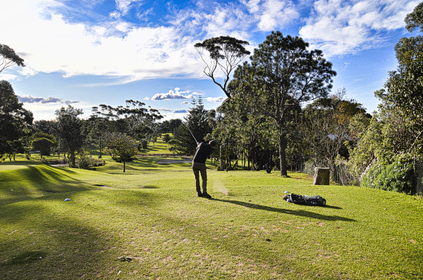 Hitting down on seven at Mollymook Golf Club