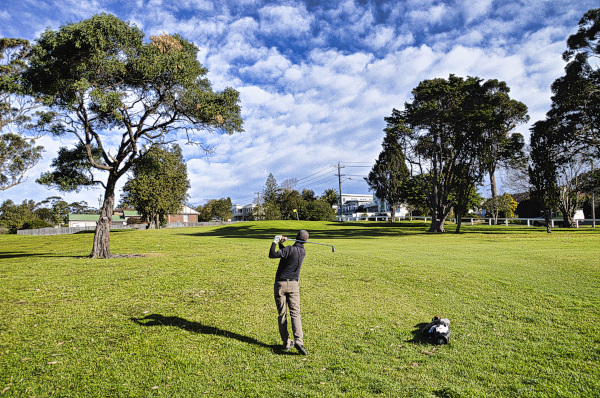 Short of the target on three at Mollymook Golf Club