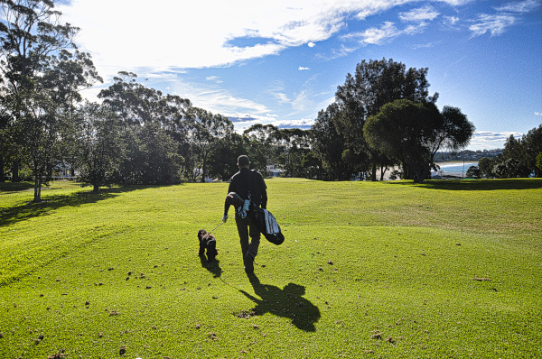 Walking down the second at Mollymook Golf Club