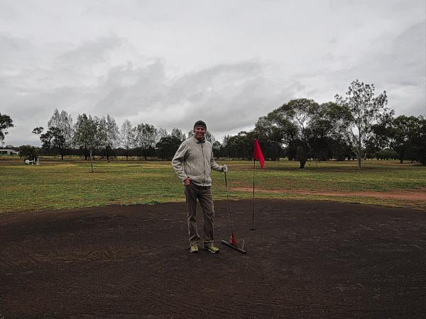 Black sand greens at Trundle Golf Club