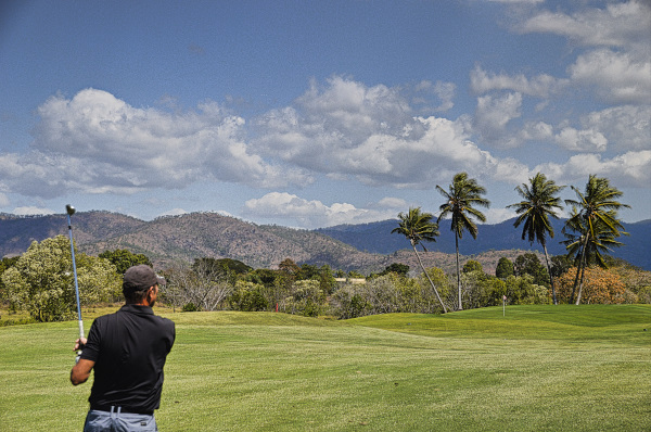 Hitting wedge into 13 at Townsville Golf Club