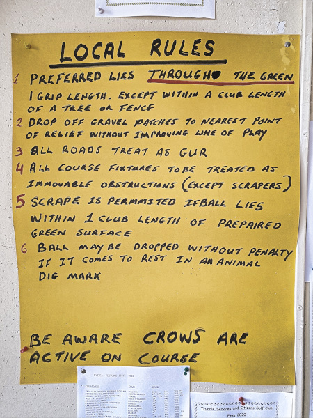 Local rules at Trundle Golf Club