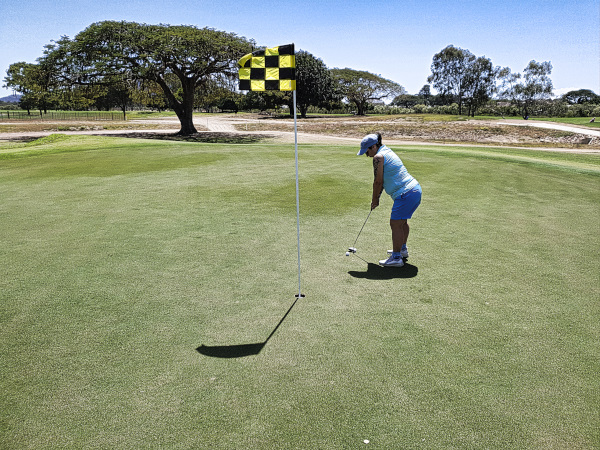Putting for par on 2 at Townsville Golf Club