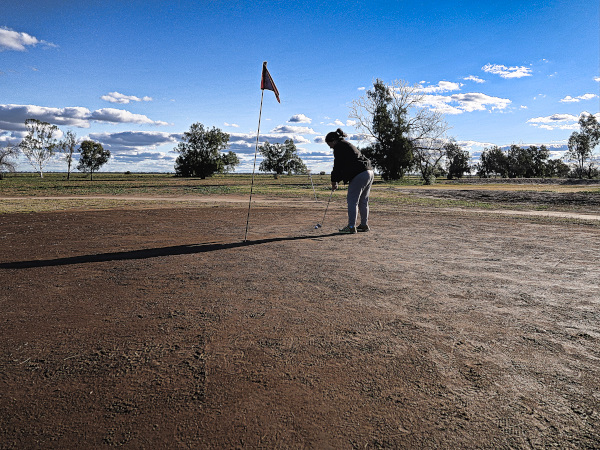 Putting on the second at Coonamble Golf Club