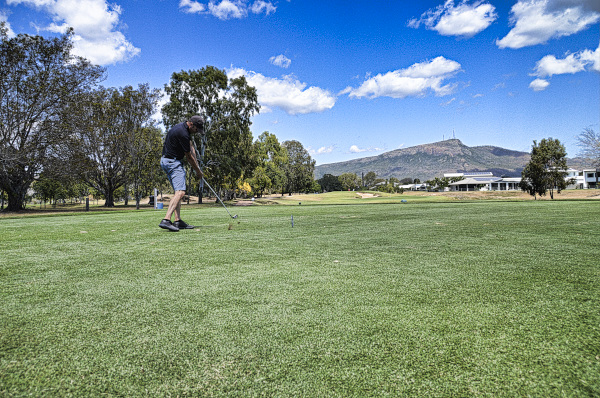Teeing off on 5 at Townsville Golf Club