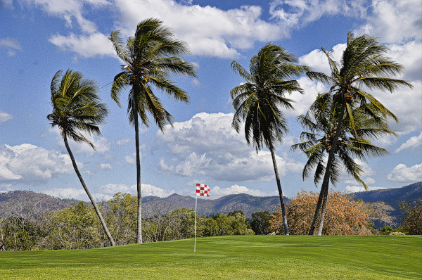 Tropical views of the 13th green at Townsville Golf Club