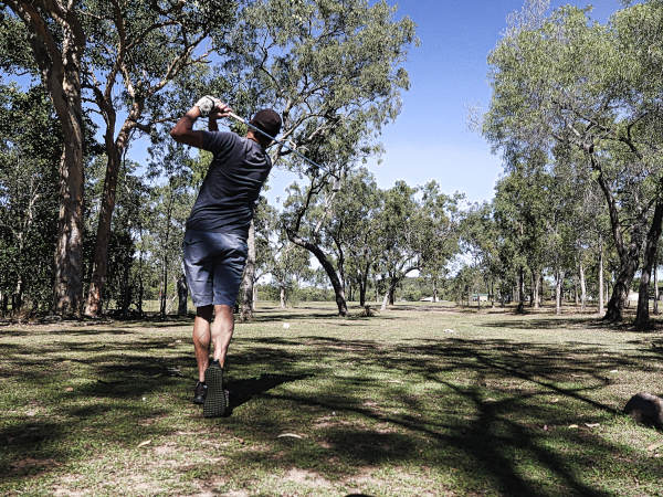 Tee shot on nine at Brandybottle Golf Club
