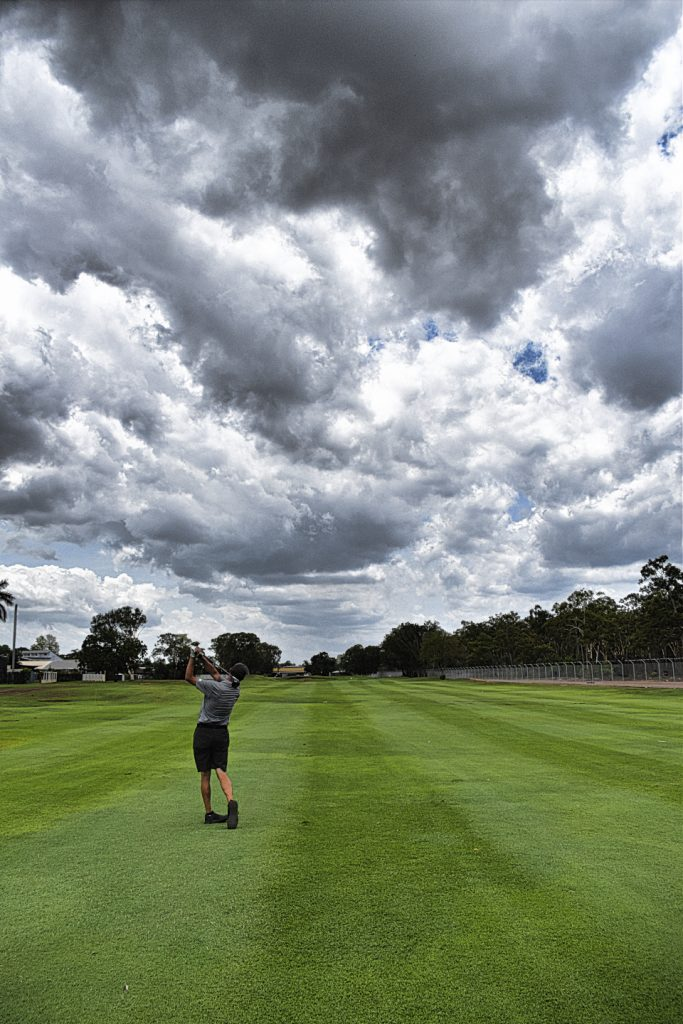 Approach shot on fourteen at Darwin Golf Club