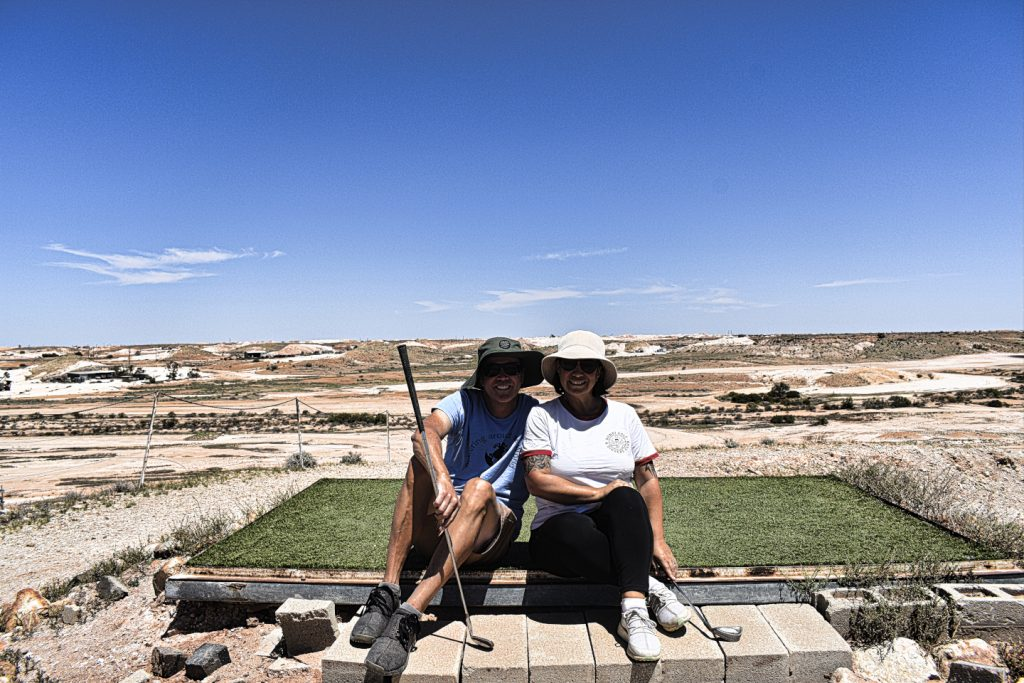 Opening hole at Coober Pedy Opal Fields Golf Club