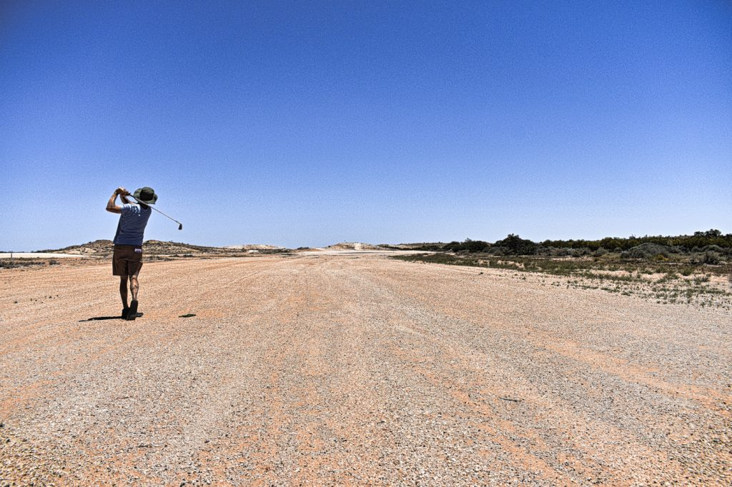 Striping one at Coober Pedy Opal Fields Golf Club