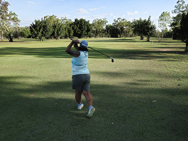 Muscling a 6 iron at Humpty Doo and Rural Area Golf Club