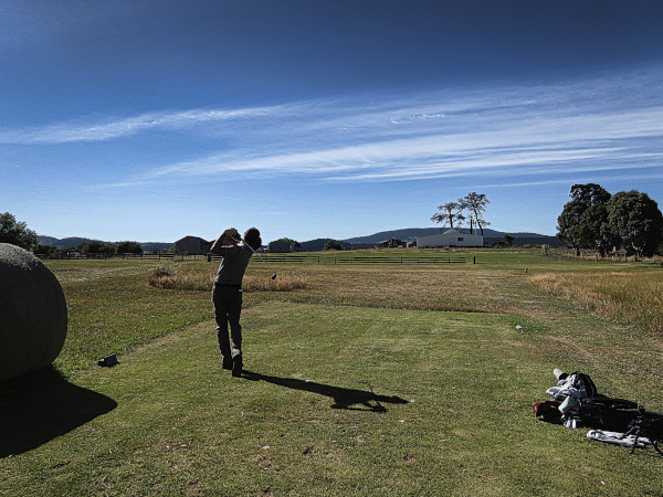 Teeing off on two at Ratho Farm