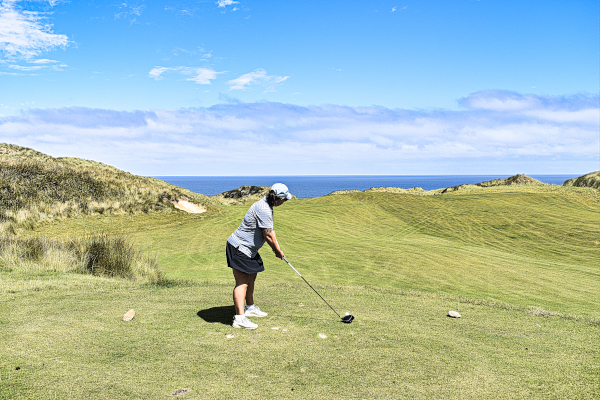 Aim down the middle on nine at Cape Wickham Golf Club