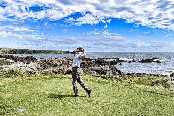 Aiming left on sixteen at Cape Wickham Golf Links