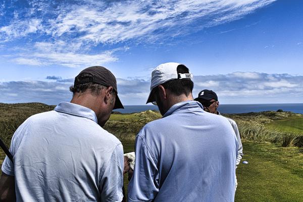 Getting advice on nine at Cape Wickham Golf Links