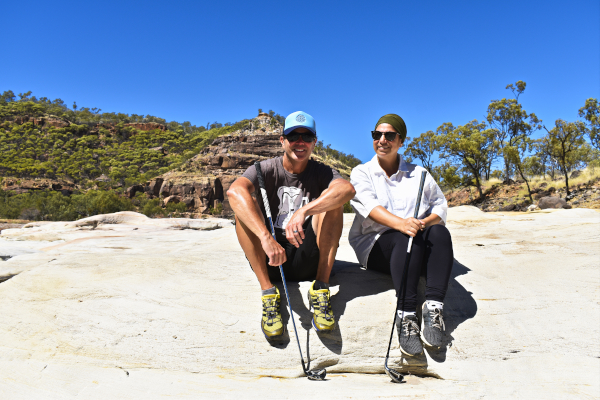 """At the Porcupine Gorge with our """"Hiking"""" Sticks"""