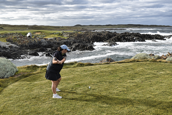 Teeing off on Disphyma at Ocean Dunes Golf Course