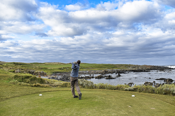 Teeing off on Old Track at Ocean Dunes Golf Course