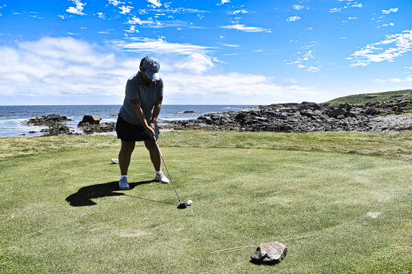 Teeing off on the eleventh at Cape Wickham Golf Links