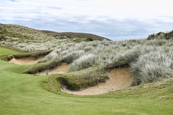 Treacherous bunkers on Bay at Ocean Dunes Golf Course