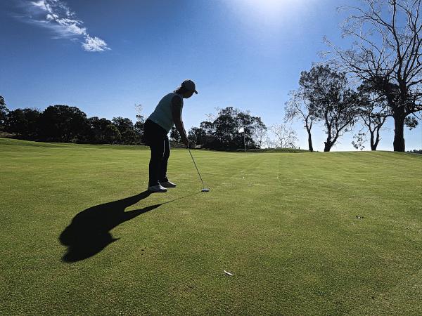 Birdie putt on five at Tasmania Golf Club