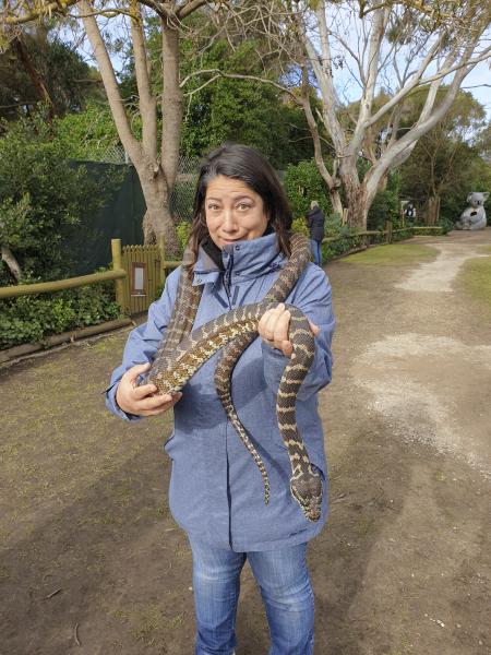 Menekse holding a snake at Jirrahlinga Jirrahlinga Koala und Wildlife Sanctuary