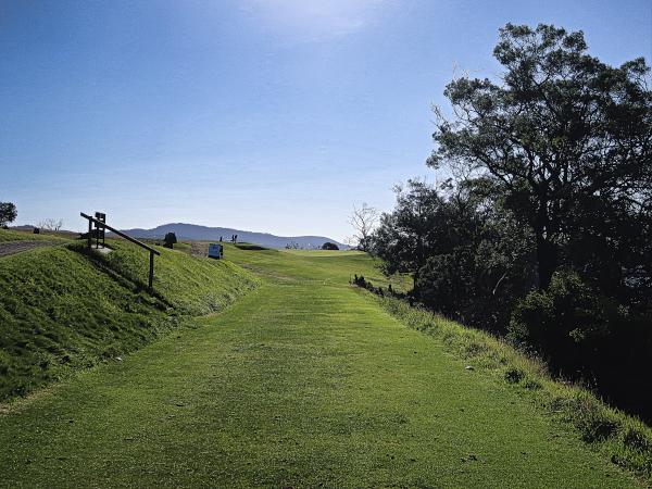 The intimidating par 3 eighth at Tasmania Golf Club