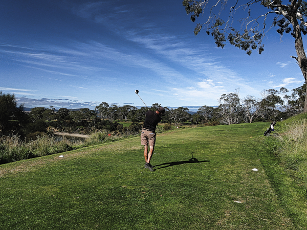 Turning one over on the third at Tasmania Golf Club